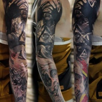 Abstract full sleeve tattoo