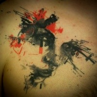 Abstract watercolor style tattoo of strange ornament