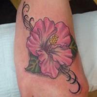 meraviglioso fiore hawaiana colorato rosa tatuaggio su piede