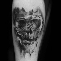 Amazing skull tattoo by Niki Norberg