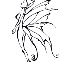 amazing outline slim fairy with beautiful wings tattoo design. Black Bedroom Furniture Sets. Home Design Ideas