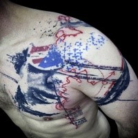 American traditional style colored shoulder tattoo of flag with lettering