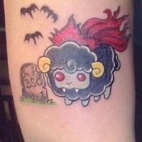 Amuse colorful vampire sheep tattoo on arm