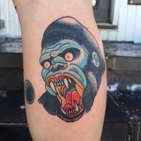 Angry old school vampire gorilla head tattoo on shin