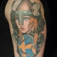 vichingo ragazza cartone animato tatuaggio sulla spalla