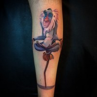 Animated colorful baboon tattoo on arm