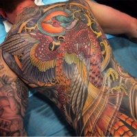 Asian style colored phoenix tattoo on whole back