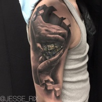 Awesome 3d rubiks cube tattoo on shoulder