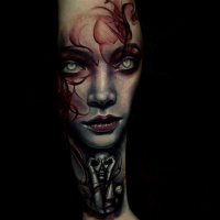 Awesome Girls face tattoo on arm