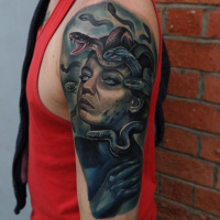 Awesome Medusa and snakes tattoo on shoulder