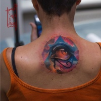 Awesome all seeing eye pyramid symbol tattoo on upper back