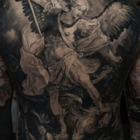 Awesome angel and demon full back tattoo