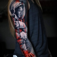 Awesome astronaut woman tattoo on arm