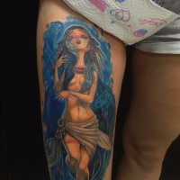 Awesome cartoon native american gilr tattoo