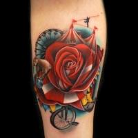Awesome circus theme rose tattoo