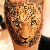 eccezionale inchiostro colorato testa ghepardo tatuaggio su  stinco
