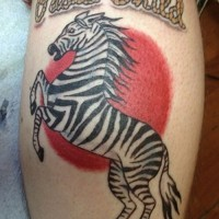Awesome color-ink zebra with red sun and quote tattoo on shin