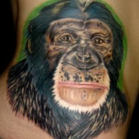 Awesome colorful chimpanzee muzzle portrait tattoo on hip