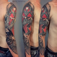 Awesome colorfull full sleeve tattoo with old lantern and wing
