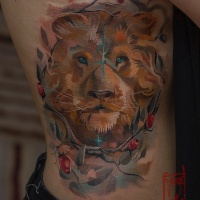Awesome lion tattoo on side