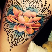 Awesome lotus flower tattoo on thigh