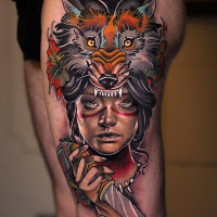 Awesome neotraditional woman and fox tattoo