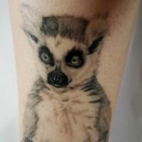 Awesome realistic lemur tattoo on leg