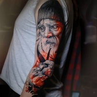 Awesome realistyc sailor tattoo on arm
