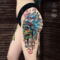 Awesome sketch graphics skull tattoo on hip