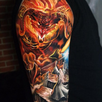 Balrog vs Gandalf fantasy tattoo on shoulder