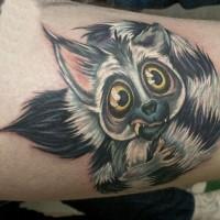Beautiful colorful lemur tattoo on thigh