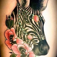 Beautiful colorful zebra head with pink flowers tattoo