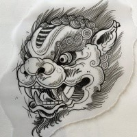 beautiful outline chinese style foo dog tattoo design. Black Bedroom Furniture Sets. Home Design Ideas