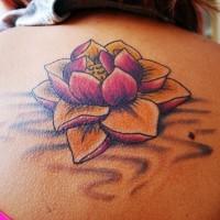 eccezionale bello fiore loto tatuaggio per ragazza su schiena