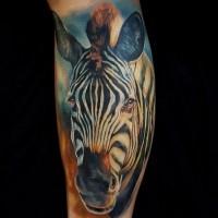 eccezionale realistico inchiostro colorato tatuaggio su gamba