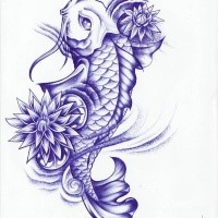 Angry huge yellow sea fish tattoo design tattooimagesz beautiful violet color koi fish and lotus flowers tattoo design mightylinksfo Choice Image