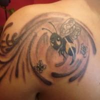 Cartoonish bee in vortex tattoo