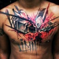 Big chest tattoo by Uncl Paul Knows