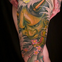 Big colored hanya tattoo on leg