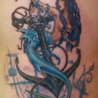 Big iron anchor with sexy mermaid tattoo for men on rib-side