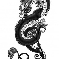 Black and white chinese dragon tattoo design for Dragon lily tattoo