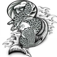 Big dotwork swollen face fish tattoo design for Black and white coy fish