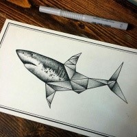 Origami Shark Tattoo