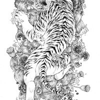 516d059985eb0 Black-and-white japanese tiger on flowered water background tattoo design