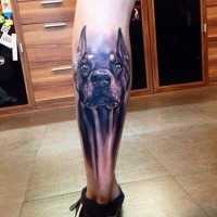 Black-ink doberman dog tattoo for men on shin