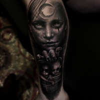 Black and white Creepy circus girl tattoo