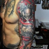 Black red hourglass with dead and candle  tattoo