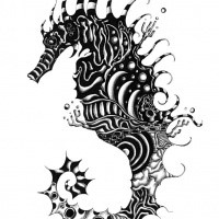Black rich patterned seahorse tattoo design for Cavalluccio marino maori