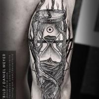 Reloj de arena Blackwork con tatuaje de árbol por daniel meyer