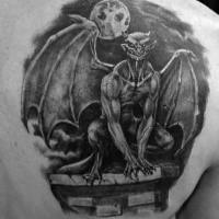 Blackwork style amazing painted scapular tattoo of night gargoyle with moon